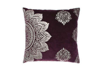Velvet mogul cushion aubergine - Walton &amp Co