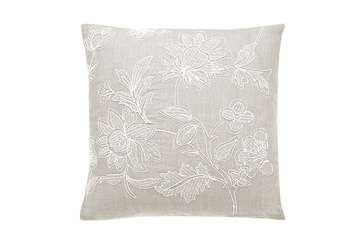 Heritage embroidered square cushion french grey - Walton &amp Co