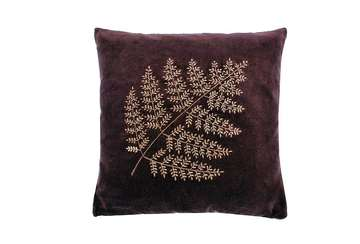 Velvet bronze fern cushion aubergine - Walton &amp Co