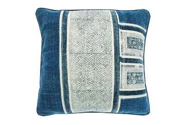 Stone wash blue square cushion - Walton &amp Co