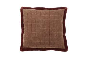 Tweed rust cushion with velvet - Walton &amp Co