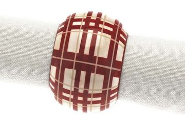 Tartan napkin ring red/white (set of 4) - Walton & Co