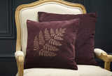 Velvet bronze fern cushion aubergine